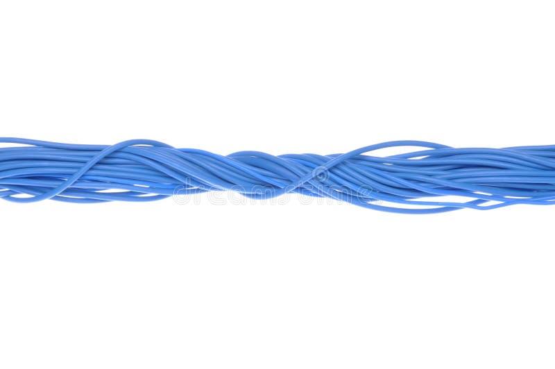 Cables azules del ordenador imagen de archivo libre de regalías