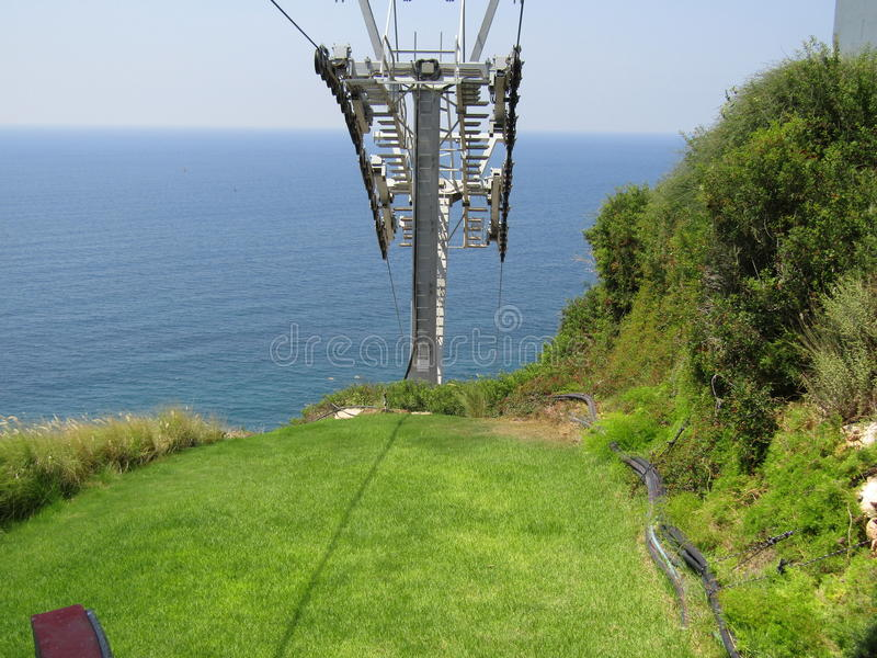 Cables of the cable car at Rosh Hanikra stock photography