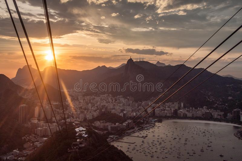 Cables of a cable car royalty free stock photo