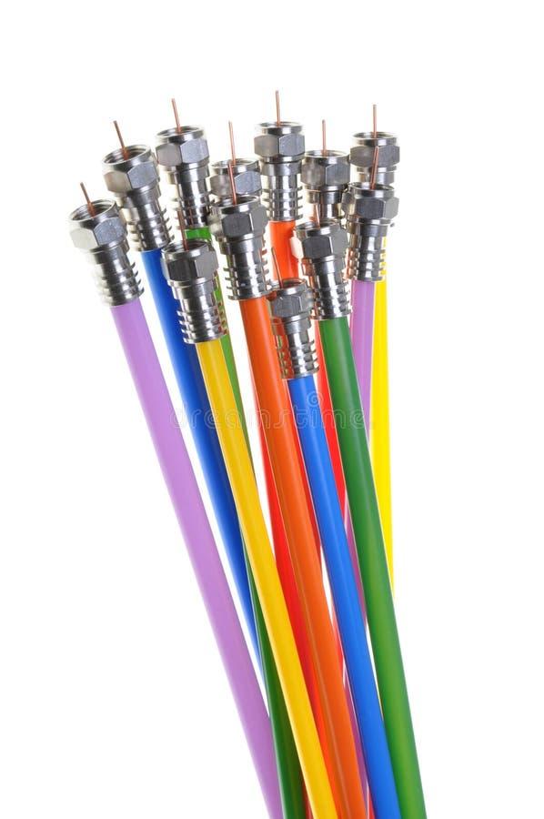 Cables coaxiales con los conectores fotos de archivo