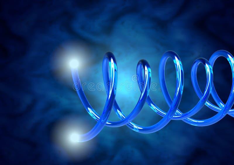 Cables de fribra óptica azules del primer, extremidades con los haces luminosos brillantes Tráfico de datos de Internet de alta v libre illustration