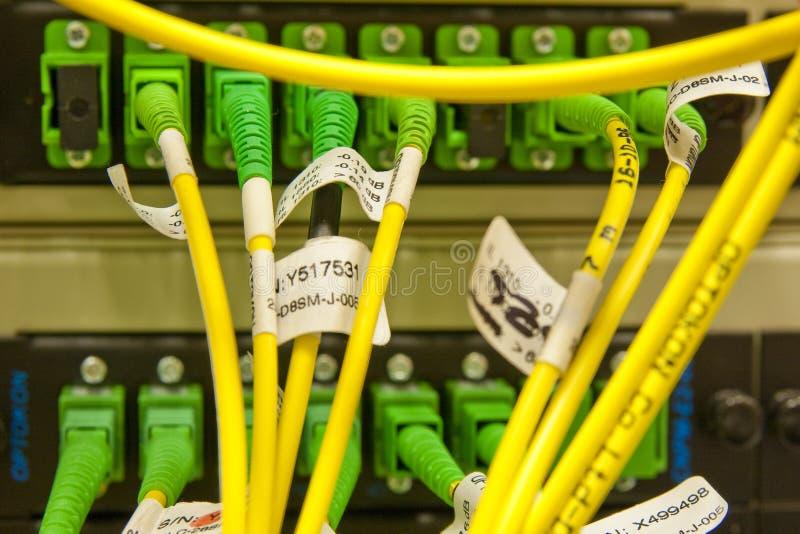 Cables de la fibra conectados con los servidores imagen de archivo libre de regalías