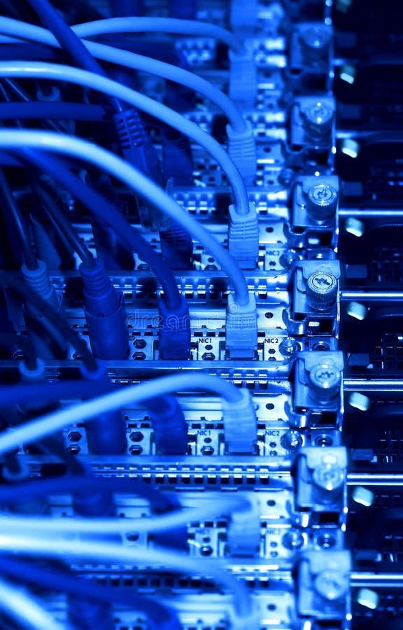 Cables de la red (tono azul) fotografía de archivo