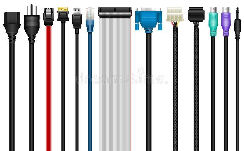 Cables del ordenador, conectores, tecnología ilustración del vector