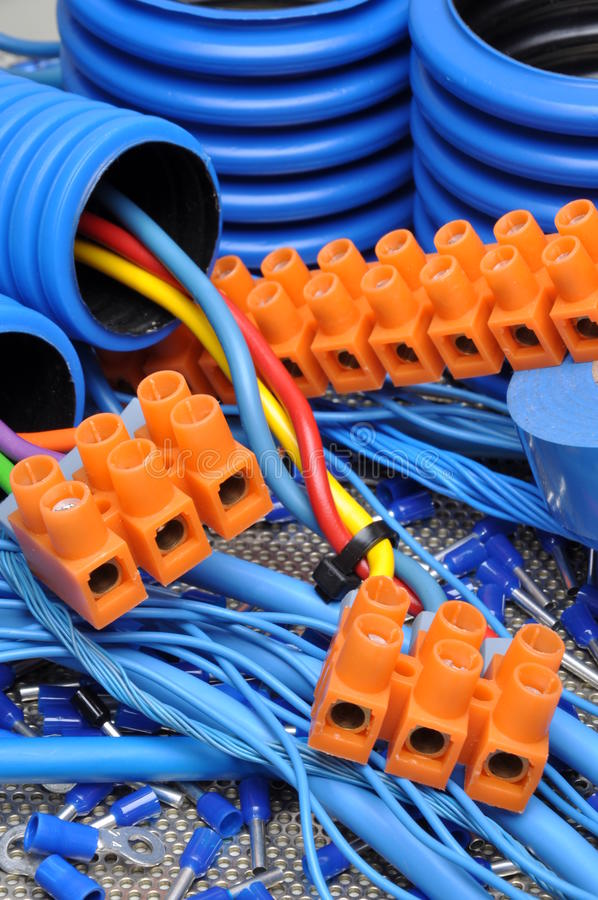 Cables and electrical component. Blue cables and electrical component royalty free stock photos