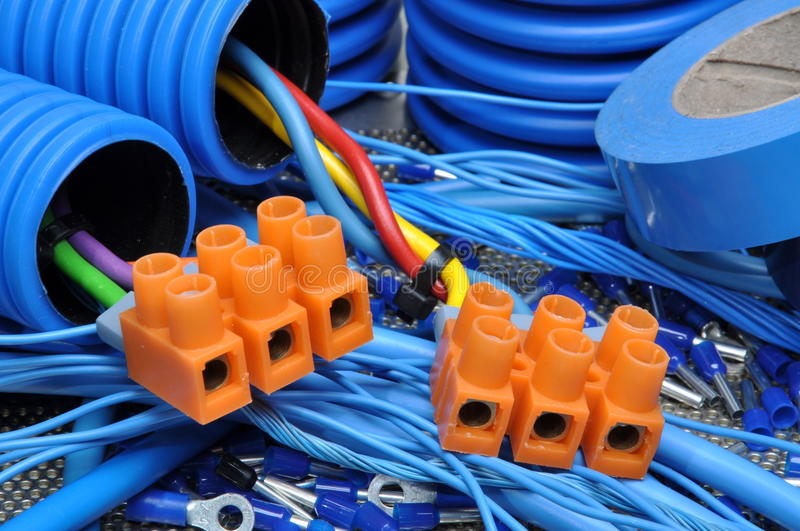 Cables and electrical component. Blue cables and electrical component royalty free stock images