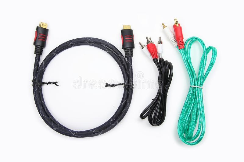 Cables for HDMI, audios and video of components royalty free stock photography