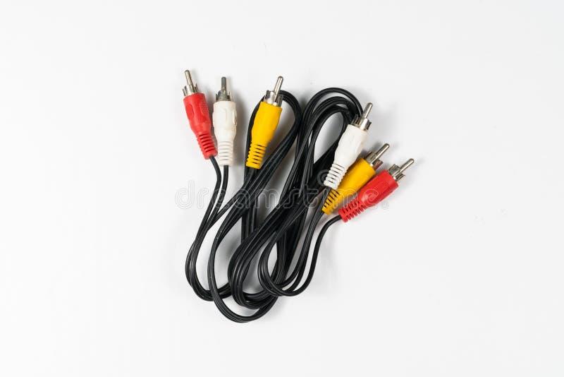 Cables RCA aislados en el fondo blanco fotografía de archivo libre de regalías