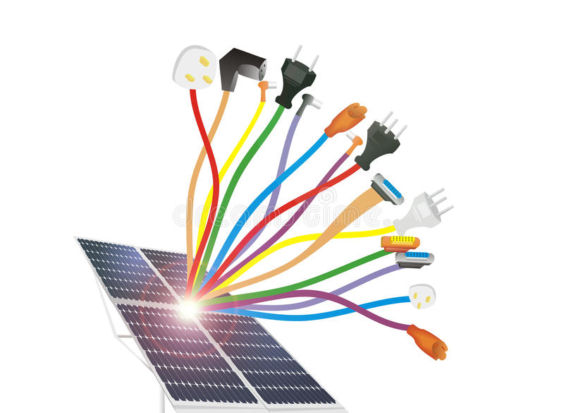 Cables and solar cells stock image