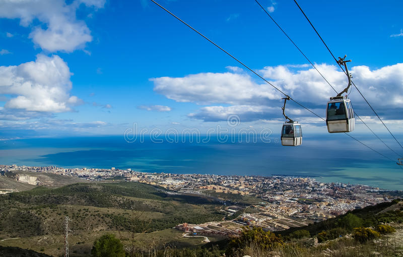 Cableway at Benalmadena, Andalusia, Spain royalty free stock images