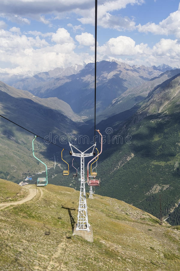 Cableway on Cheget. Long cableway on Cheget mount stock images