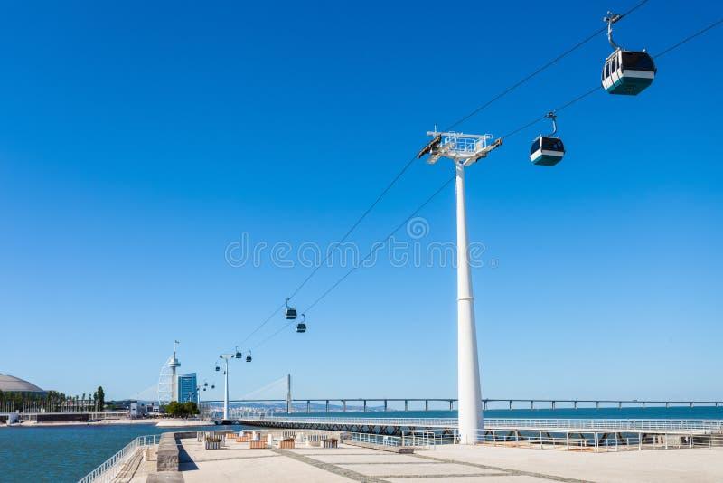 Cableway i Lissabon fotografering för bildbyråer