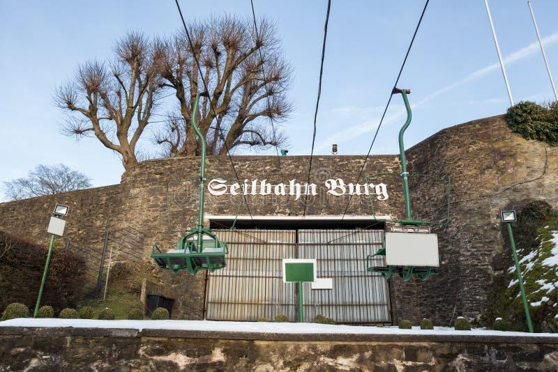 cableway i småstad för historisk stad nära solingenen Tyskland royaltyfri bild