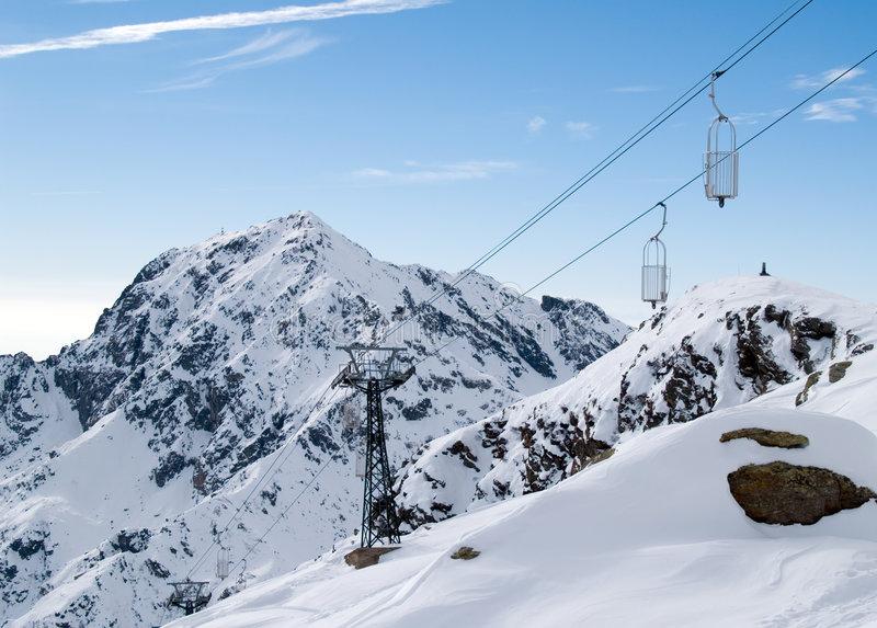 Cableway in Italian Alps stock images