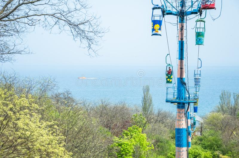 Cableway leading to the sea, Odessa City, Ukraine, April 2018. Cableway leading to the sea. Colored cabins. Odessa City, Ukraine, April 2018, landscape, summer stock photos