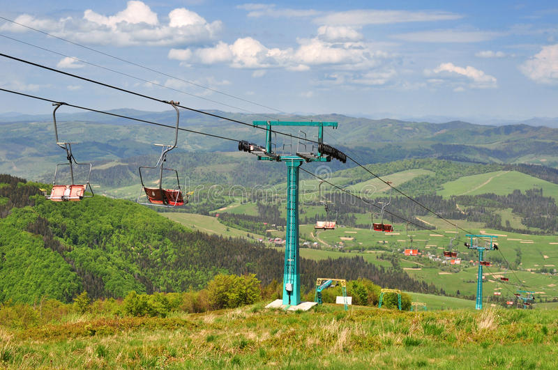 Cableway in the mountains stock images