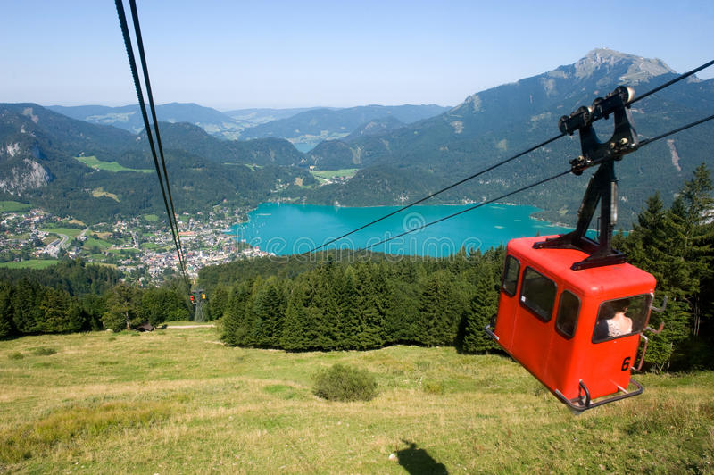 Cableway near Wolfgangsee royalty free stock image