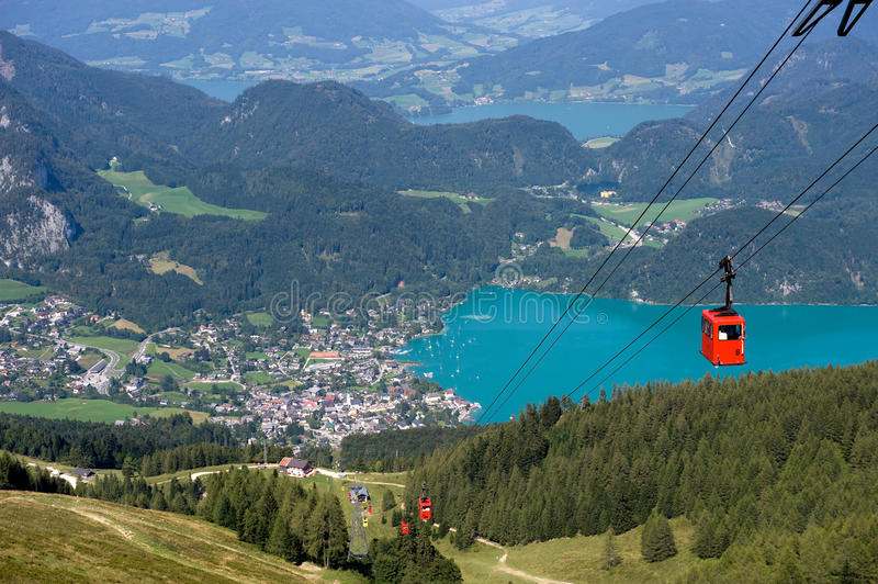 Cableway near Wolfgangsee. Cableway that goes on to the top of the zwolferhorn mountain near the Wolfgangsee in Austria royalty free stock photos