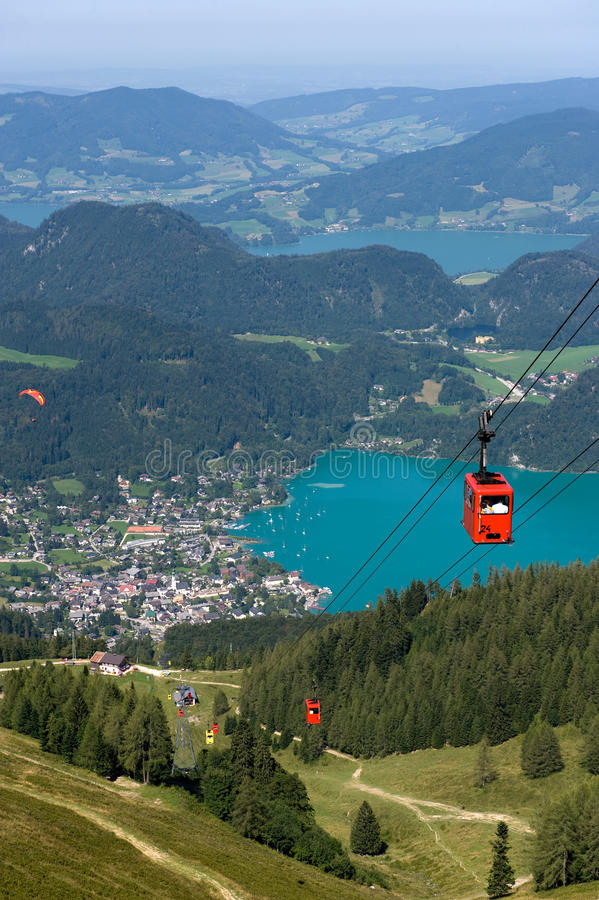 Cableway near Wolfgangsee. Cableway that goes on to the top of the zwolferhorn mountain near the Wolfgangsee in Austria stock image
