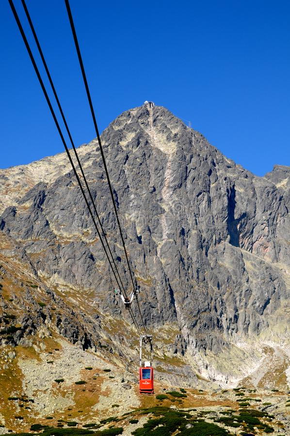 Cableway to Lomnicky peak stock photos