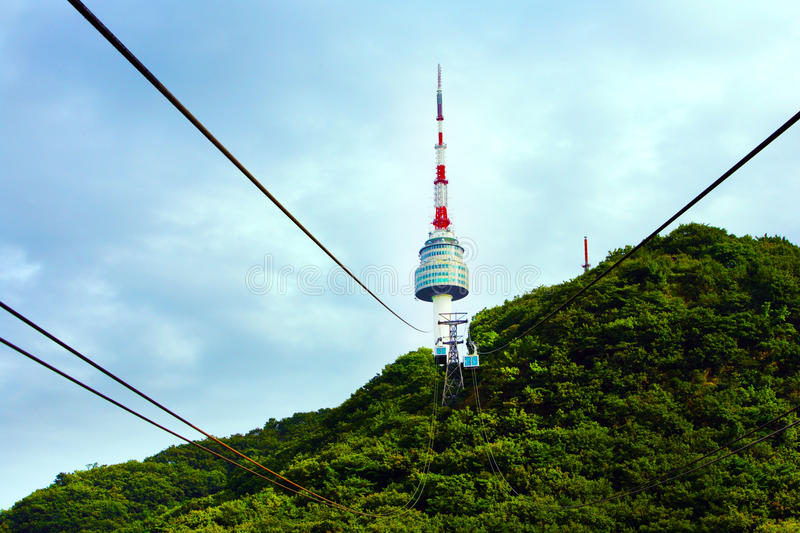 Cableway to Seoul Tower. royalty free stock images