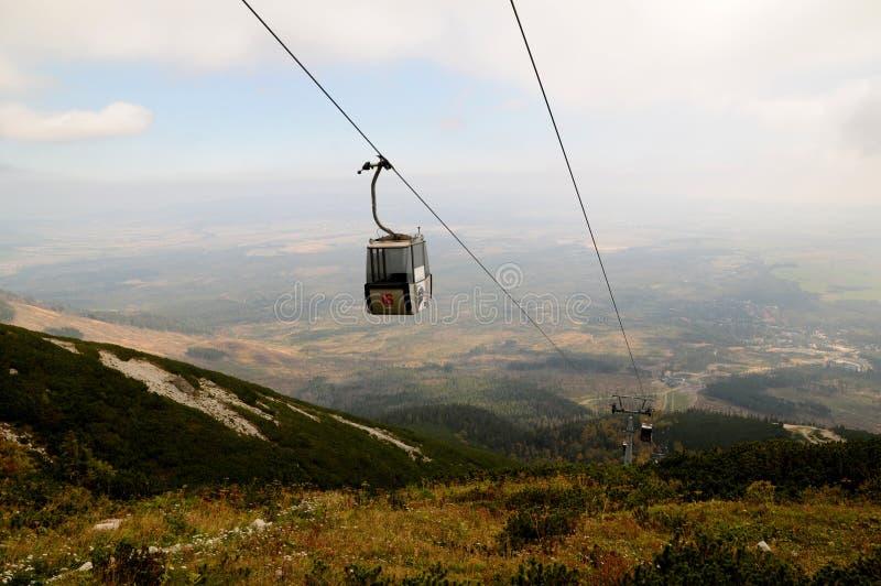 Cabo aéreo de Tatranska Lomnica ao lago Lomnica, montanha alta de Tatras, Eslováquia imagens de stock royalty free