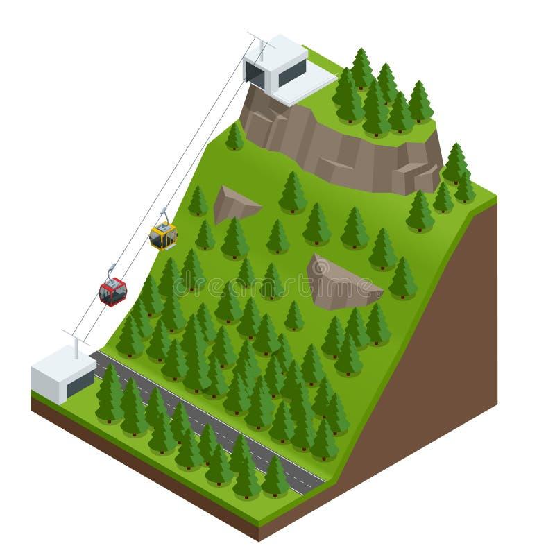 Cabo aéreo nas montanhas ilustração do vetor