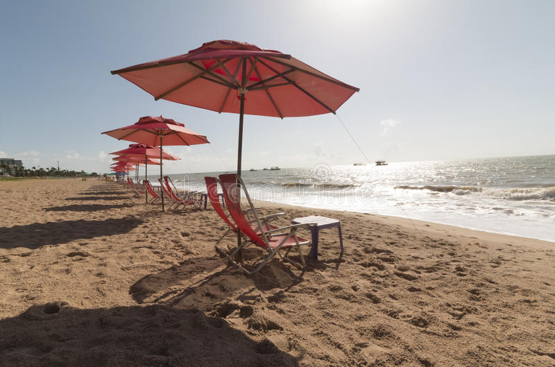 Cabo Branco beach, Joao Pessoa PB, Brazil. Cabo Branco beach is a place to be visited in Joao Pessoa PB. The street behind is closed in morning hours for stock photo