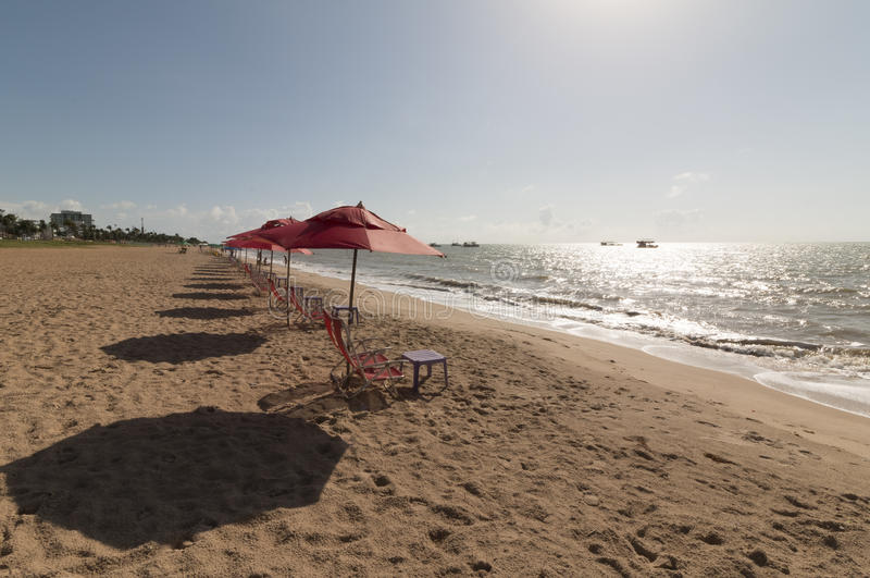 Cabo Branco beach, Joao Pessoa PB, Brazil. Cabo Branco beach is a place to be visited in Joao Pessoa PB. The street behind is closed in morning hours for royalty free stock photo