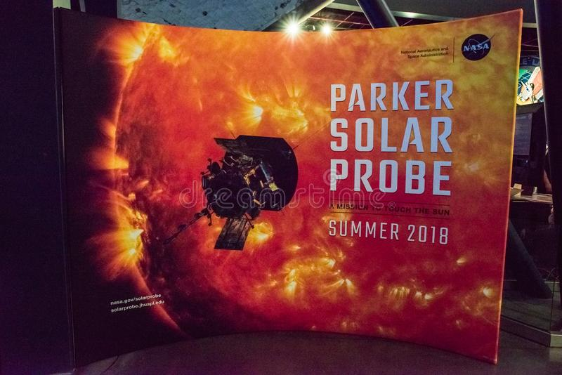 Cabo Cañaveral, la Florida - 13 de agosto de 2018: Muestra para Parker Solar Probe en NASA Kennedy Space Center fotografía de archivo libre de regalías