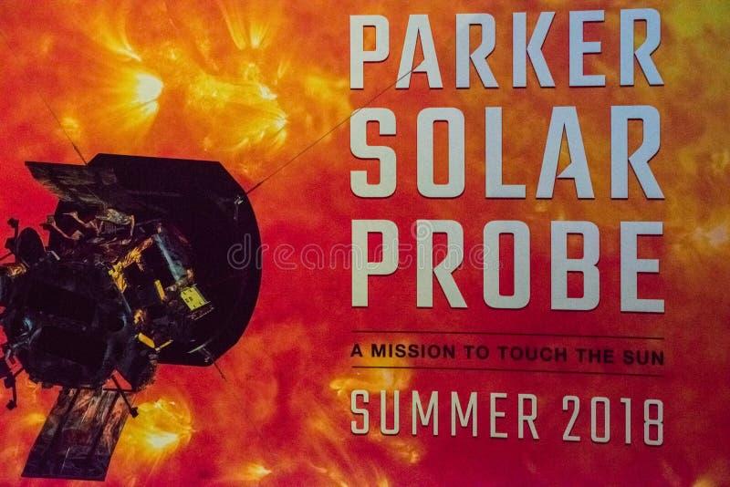 Cabo Cañaveral, la Florida - 13 de agosto de 2018: Muestra para Parker Solar Probe en NASA Kennedy Space Center imagen de archivo
