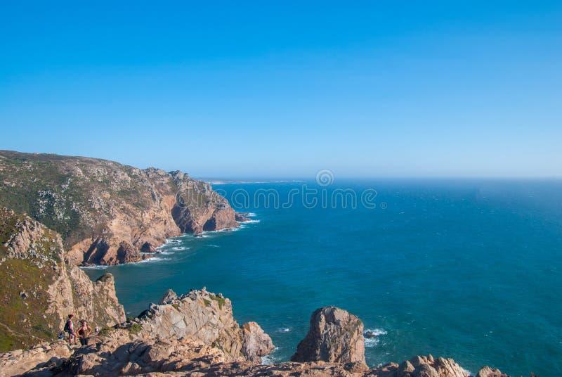 cabo da Portugal roca falezy nad Atlantyckim oceanem najwięcej westerly punktu Europejski stały ląd obraz royalty free