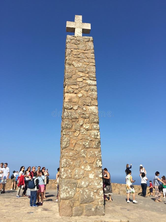 Cabo da Roca Cape Roca, Portugal. Monument declaring Cabo da Roca as the westernmost extent of continental Europe. Cabo da Roca Cape Roca is a cape which forms royalty free stock photography
