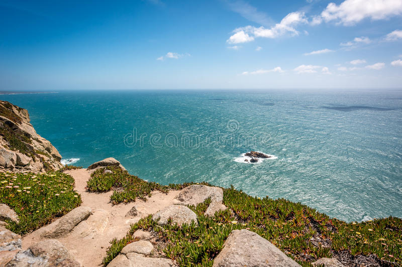 Cabo da Roca, Cape Roca in Sintra, Portugal. Atlantic ocean. Cabo da Roca (Cape Roca) located in Sintra is the most western point of Europe. There you can meet stock images