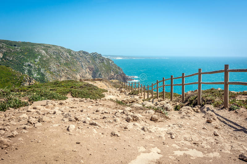 Cabo da Roca, Cape Roca in Sintra, Portugal. Atlantic ocean. Cabo da Roca (Cape Roca) located in Sintra is the most western point of Europe. There you can meet royalty free stock photography