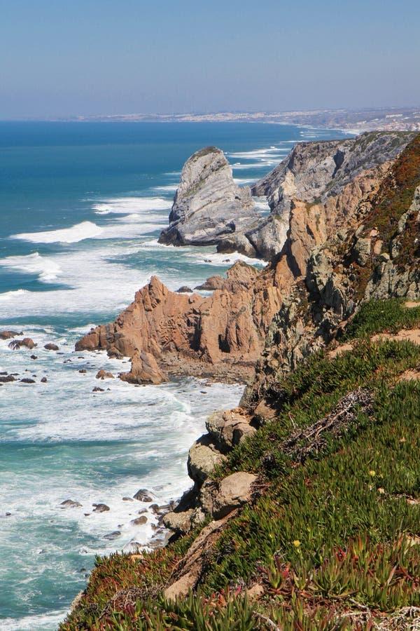 Cabo DA Roca, el punto occidental de Europa, oce atlántico imagen de archivo libre de regalías