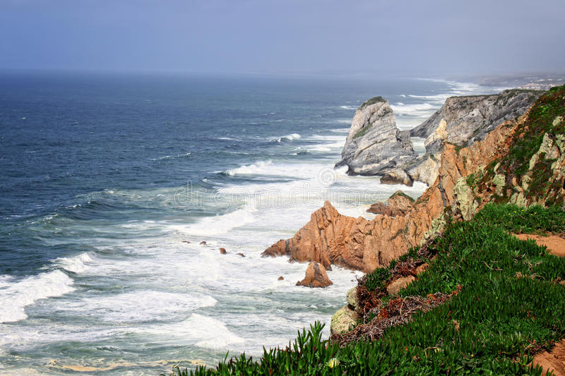 Cabo Da Roca, and lighhouse Portugal royalty free stock photos