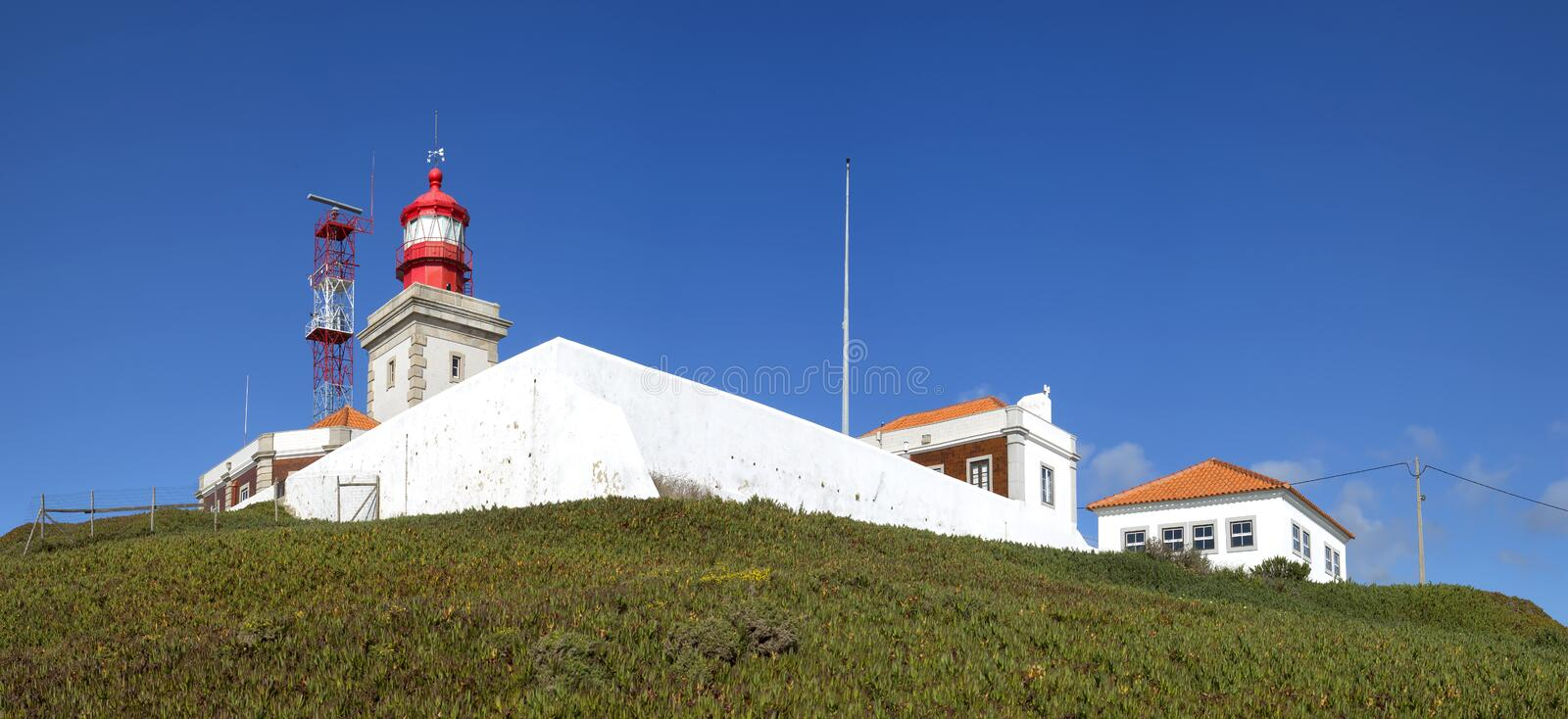 Cabo da Roca Lighthouse. Cabo da Roca is the most westerly point of the Europe mainland, Sintra, Portugal. stock photo