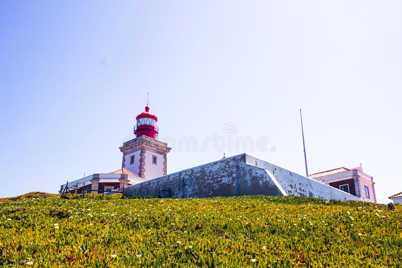 Cabo da roca lighthouse closeup, Portugal royalty free stock photos