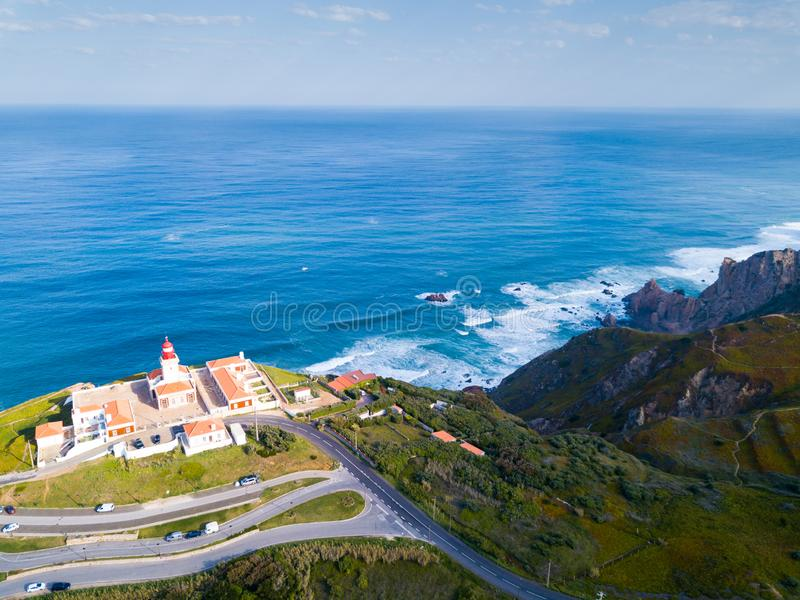 Cabo da Roca with lighthouse, Portugal stock photography