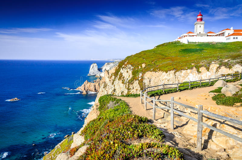 Cabo da Roca, Portugal - Atlantic Ocean stock photography
