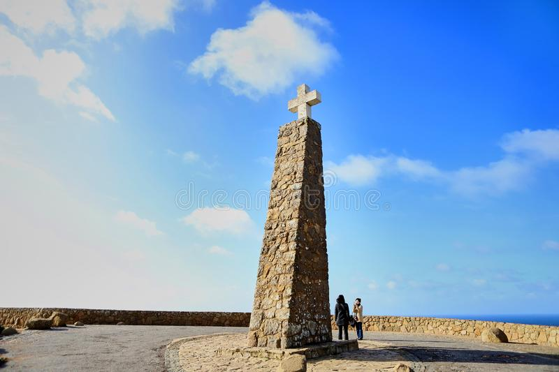 Cabo da Roca, Portugal - December 13 2018: The cross and the monument to the most occidental point of Europe royalty free stock images