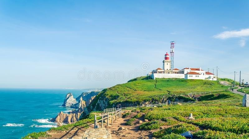 Cabo da Roca, Portugal. Lighthouse and cliffs over Atlantic Ocean, the most westerly point of the European mainland. stock images