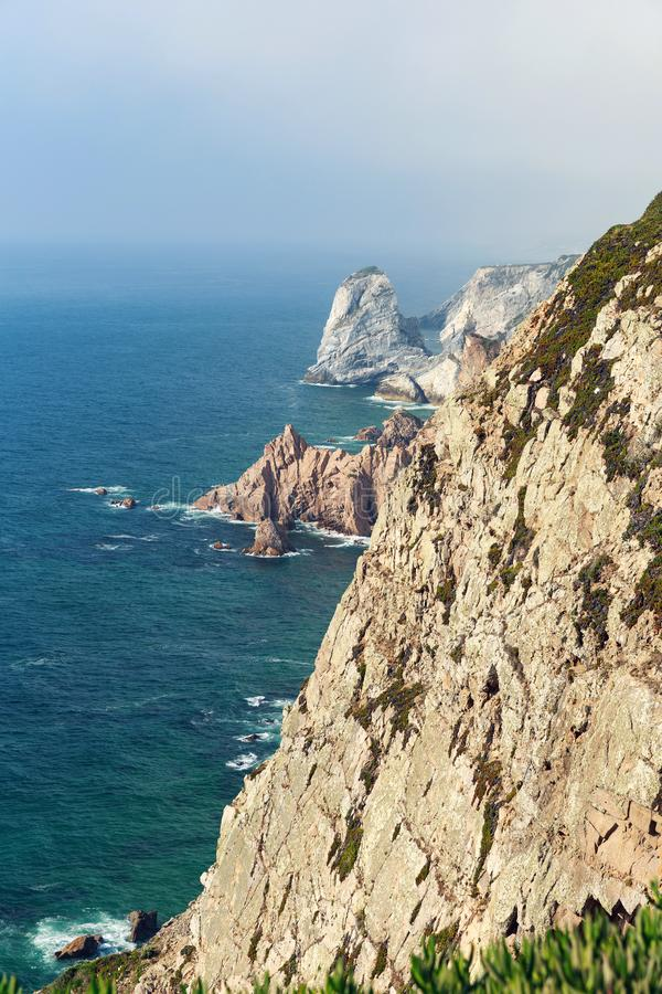 Cabo da Roca rocks and sea stock images