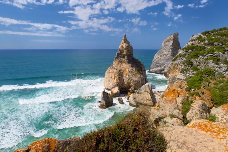 Cabo da Roca - skalisty brzeg zdjęcie royalty free