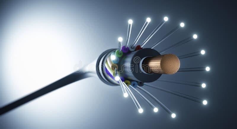 Cabo de fibra ótica - ilustração 3D ilustração royalty free