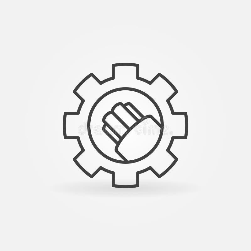 Cabo de fibra ótica no ícone do vetor da engrenagem no estilo do esboço ilustração royalty free