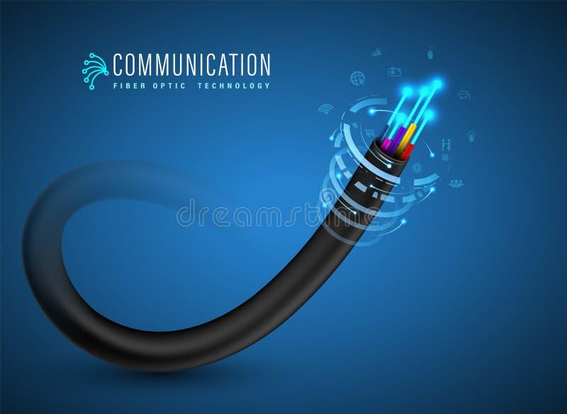 Cabo de fibra ótica para serviços de comunicação do conceito e da propaganda da fibra ótica ilustração do vetor