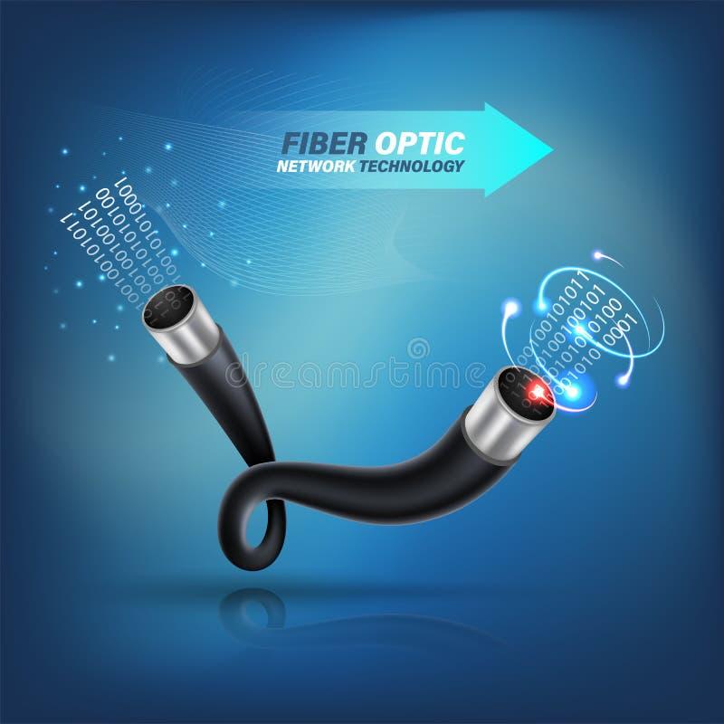 Cabo de fibra ótica para serviços de comunicação do conceito e da propaganda da fibra ótica ilustração stock