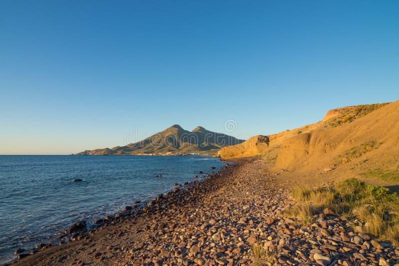 Cabo de Gata coast at sunrise stock image